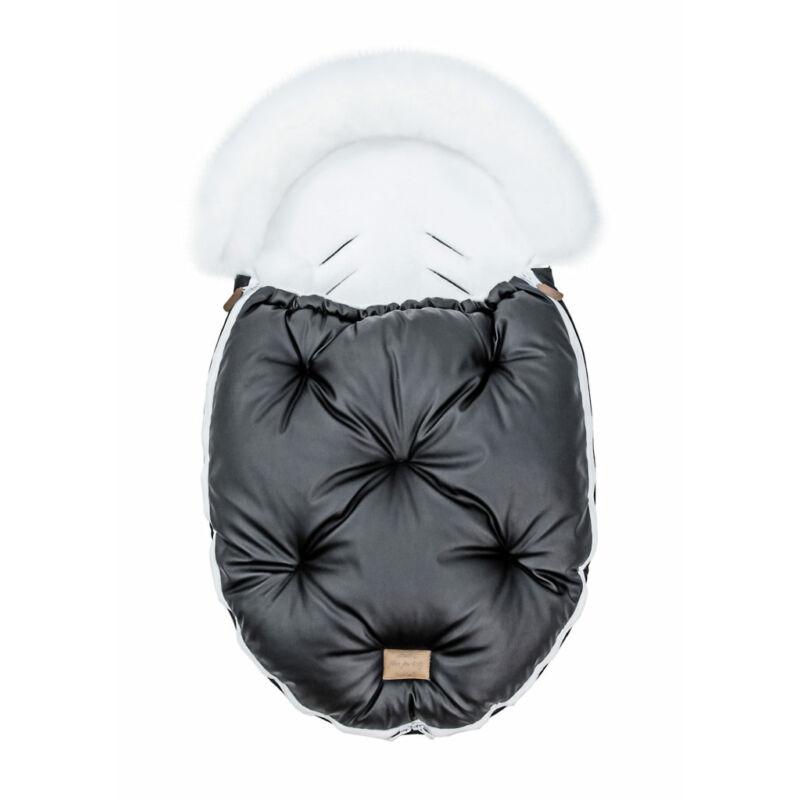 baba bundazsák prémium eco bőr anyagból fekete fehér szőrmével