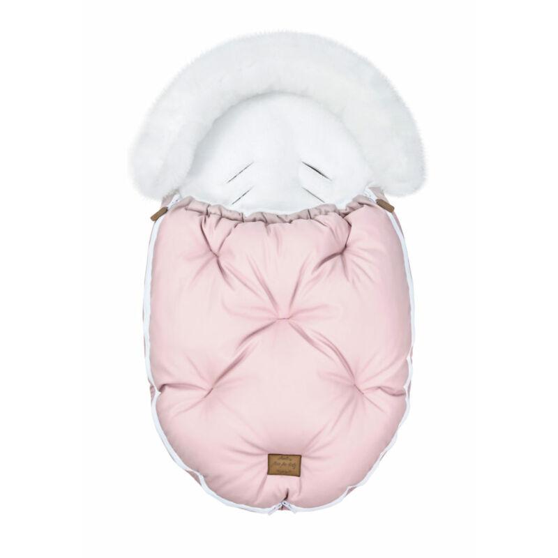 baba bundazsák prémium eco bőr anyagból rózsaszín fehér szőrmével