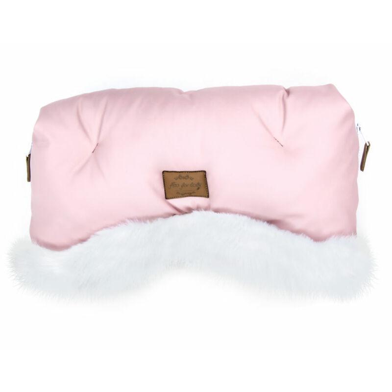 babakocsi kézmelegítő rózsaszín színben fehér szőrmével