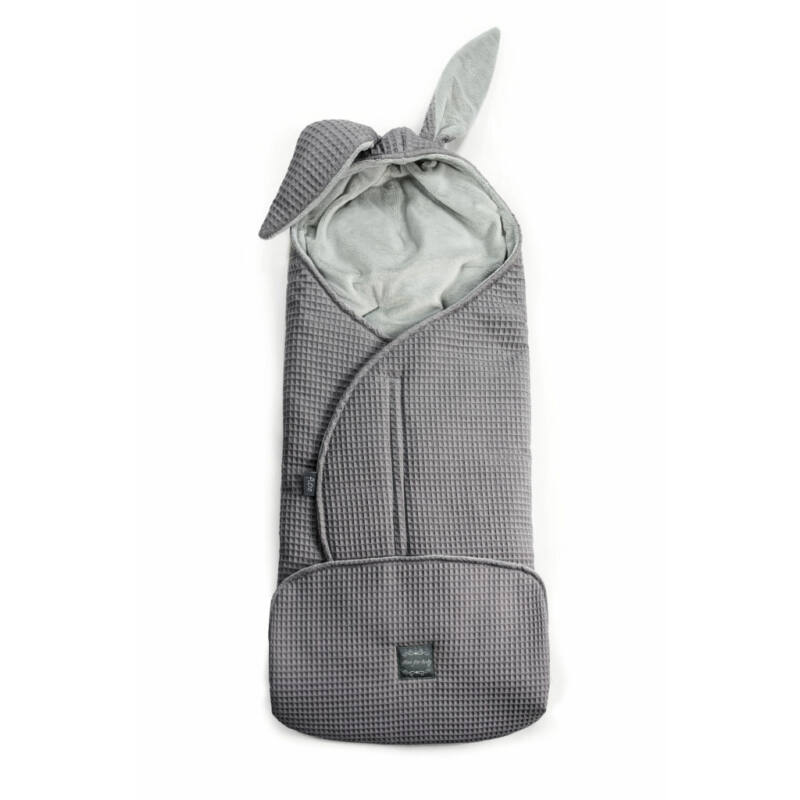 babakocsi takaró nyuszifüllel grafit szürke rácsos waffel anyagból