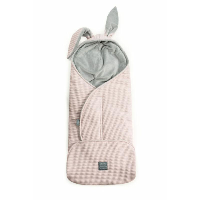 babakocsi takaró nyuszifüllel púder rózsaszín rácsos waffel anyagból