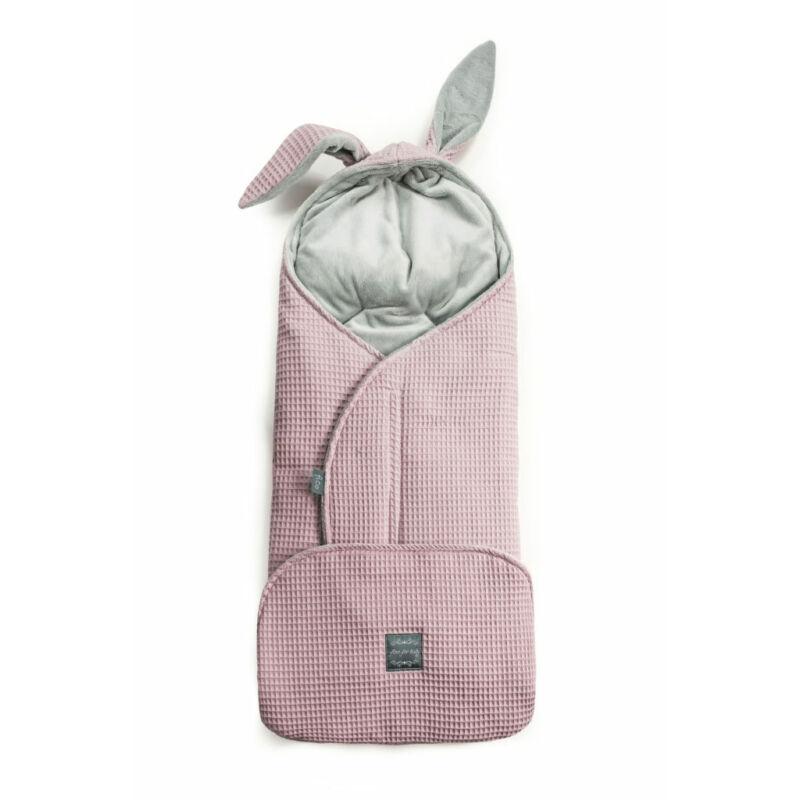 babakocsi takaró nyuszifüllel vintage rózsaszín rácsos waffel anyagból