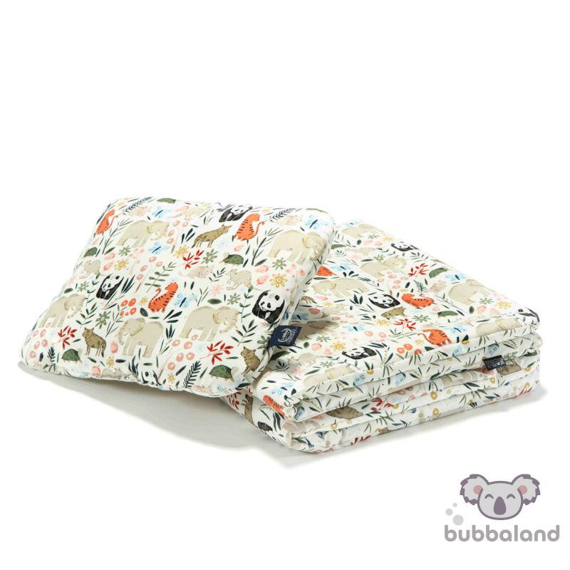 újszülött baba ágynemű szett töltettel és kispárnával állatkertes vadállatos mintával