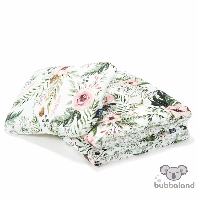 újszülött baba ágynemű szett töltettel és kispárnával vadvirágos mintával