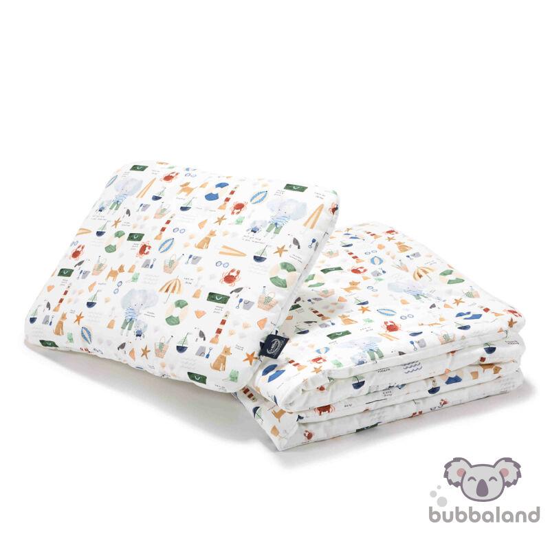 baba ágynemű szett töltettel és kispárnával 80x100 cm kék tengerparti piknik French Riviera Boy