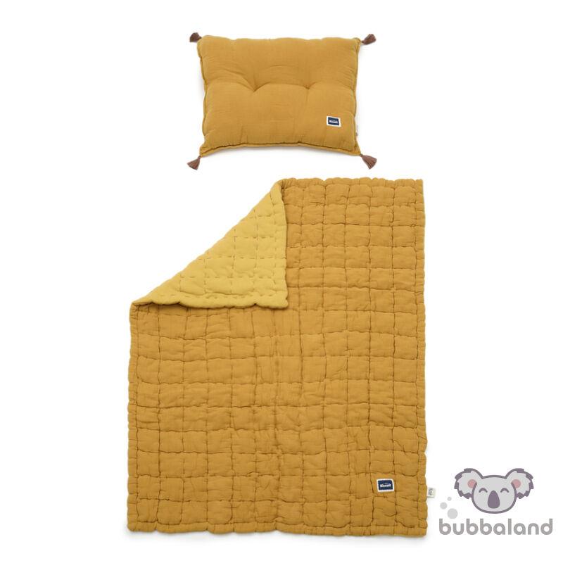 ovis ágynemű szett töltettel és kispárnával muszlin anyagból mustársárga színben