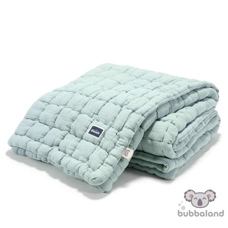 steppelt felnőtt méretű takaró muszlin pamutból menta színben