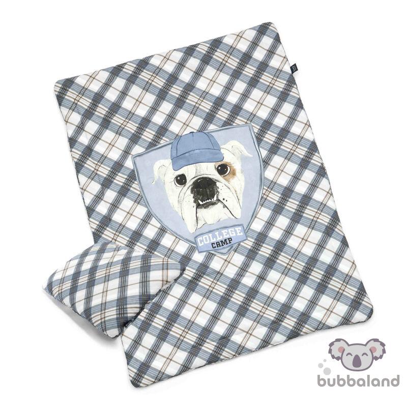 óvodás ovis ágynemű szett töltettel kék csíkos, bulldog mintával