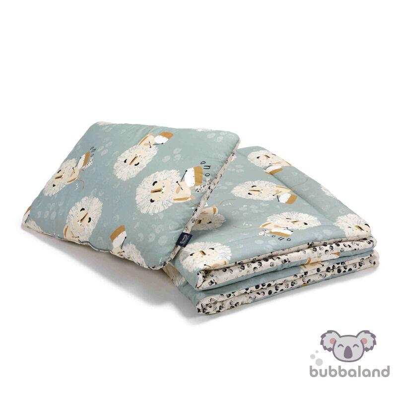 ovis ágynemű szett töltettel 100x135 cm világoskék fekete-fehér pöttyös doboló oroszlán Wild Cats Stone