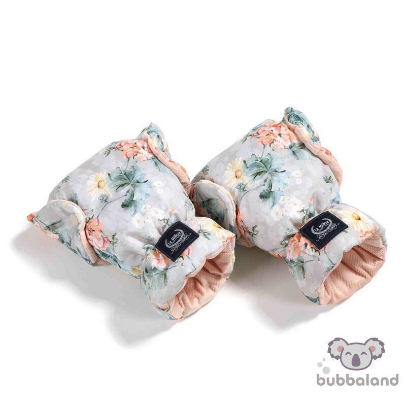 babakocsi kesztyű vintage virágos mintával púder rózsaszín