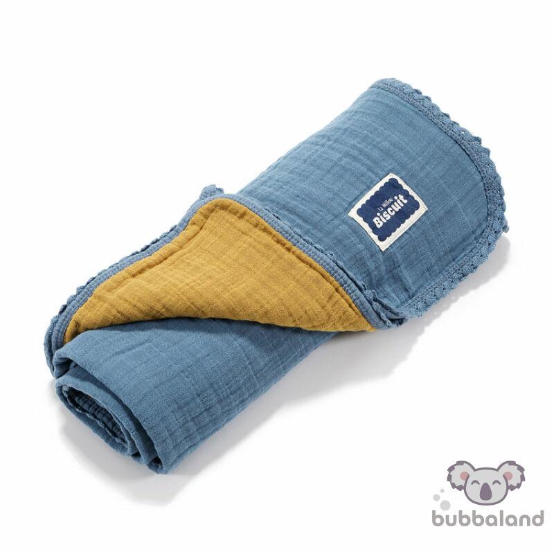 kétoldalas könnyű muszlin babatakaró kék és mustársárga színben