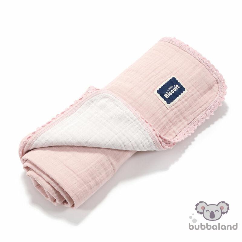 kétoldalas könnyű muszlin babatakaró púder rózsaszín és fehér színben