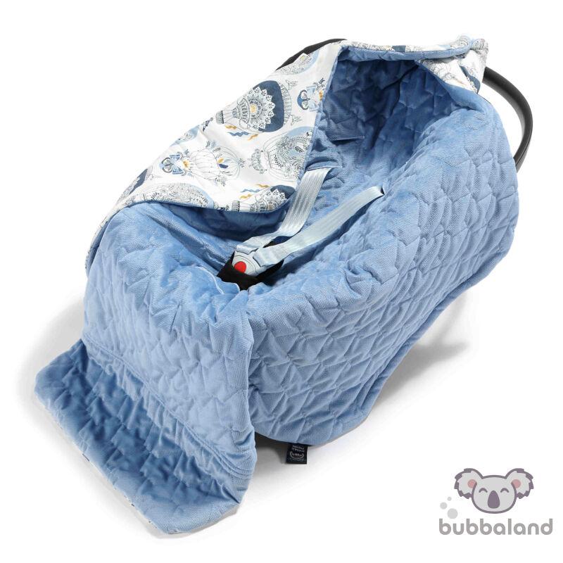 hordozós takaró velvet babakocsi takaró galambkék hőlégballon mintával