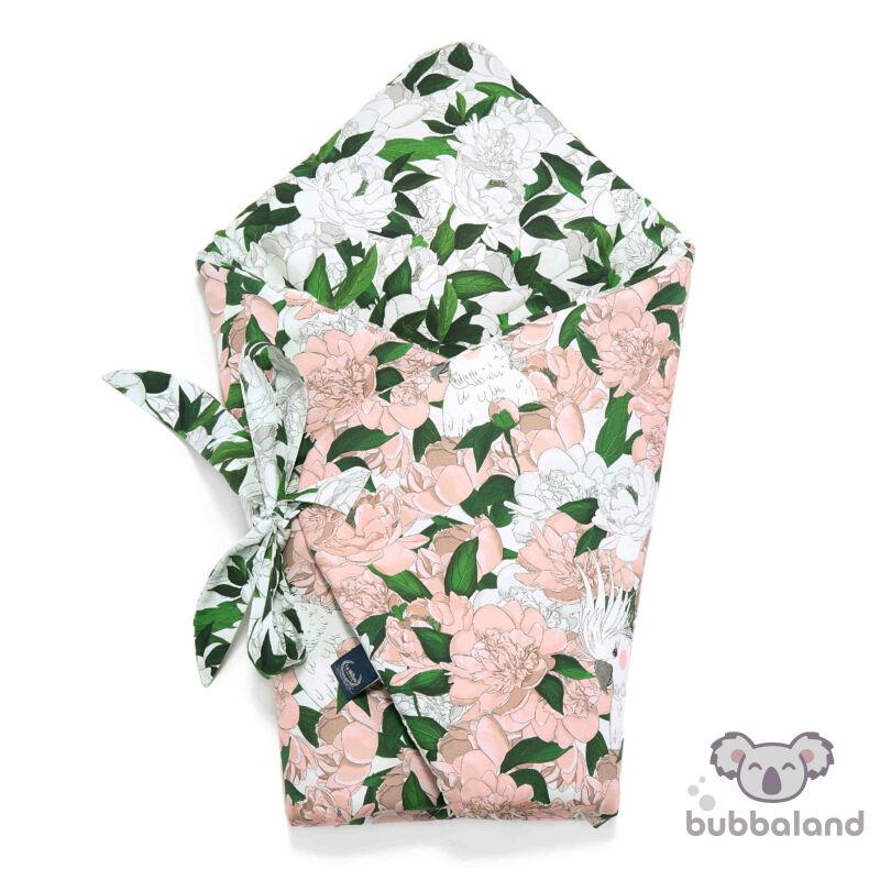 Baba pólya fehér zöld és rózsaszín színekben bazsarózsa mintával Lady Peony