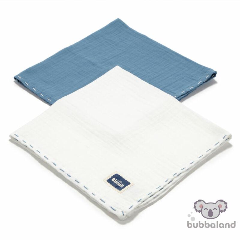 2 darabos textil pelenka pamut muszlin kék és fehér színekben