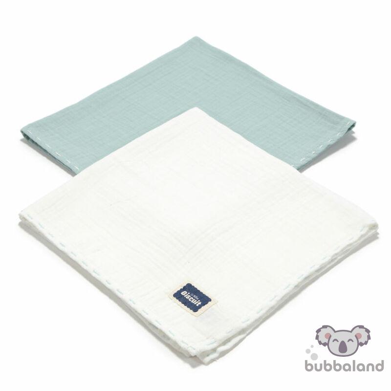 2 darabos textil pelenka pamut muszlin menta és fehér színekben