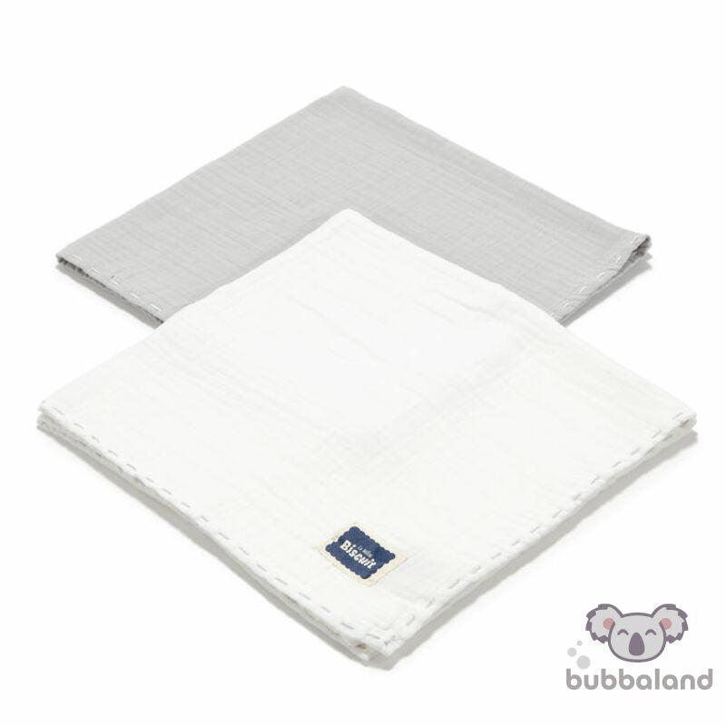 2 darabos textil pelenka pamut muszlin szürke és fehér színekben