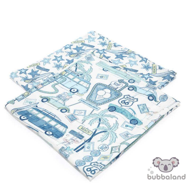 2 darabos textil pelenka bambuszból kék, fehér színekben autós nyaralás Route 66 Colour