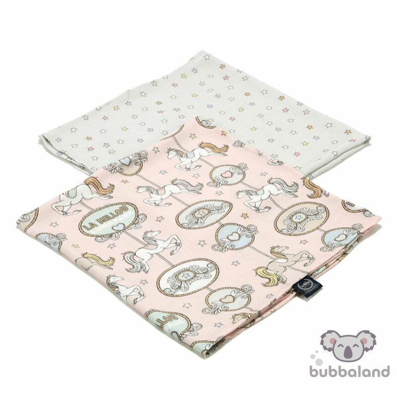 2 darabos textil pelenka bambuszból ezüst ionokkal rózsaszín körhinta mintával Dream Lunapark