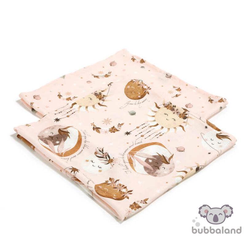 2 darabos textil pelenka pamut muszlin nap, hold, álomfogó mintával Fly me to the Moon Nude
