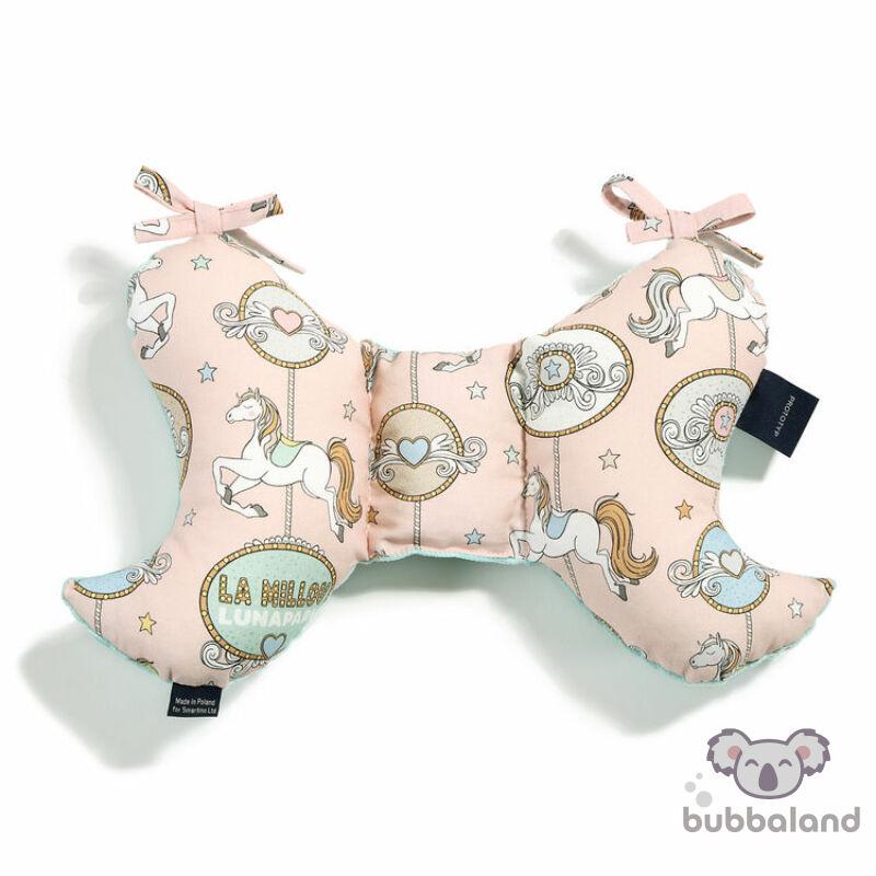 pillangópárna minky anyagból rózsaszín és fehér és menta színben vidámparkos körhintás mintával Lunapark Dream
