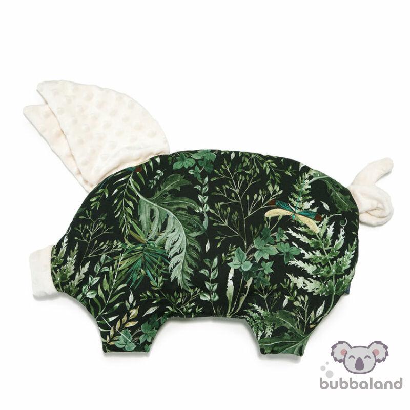 lapos baba párna röfi malac formájú ekrü minky sötétzöld erdei levél mintás Botanical