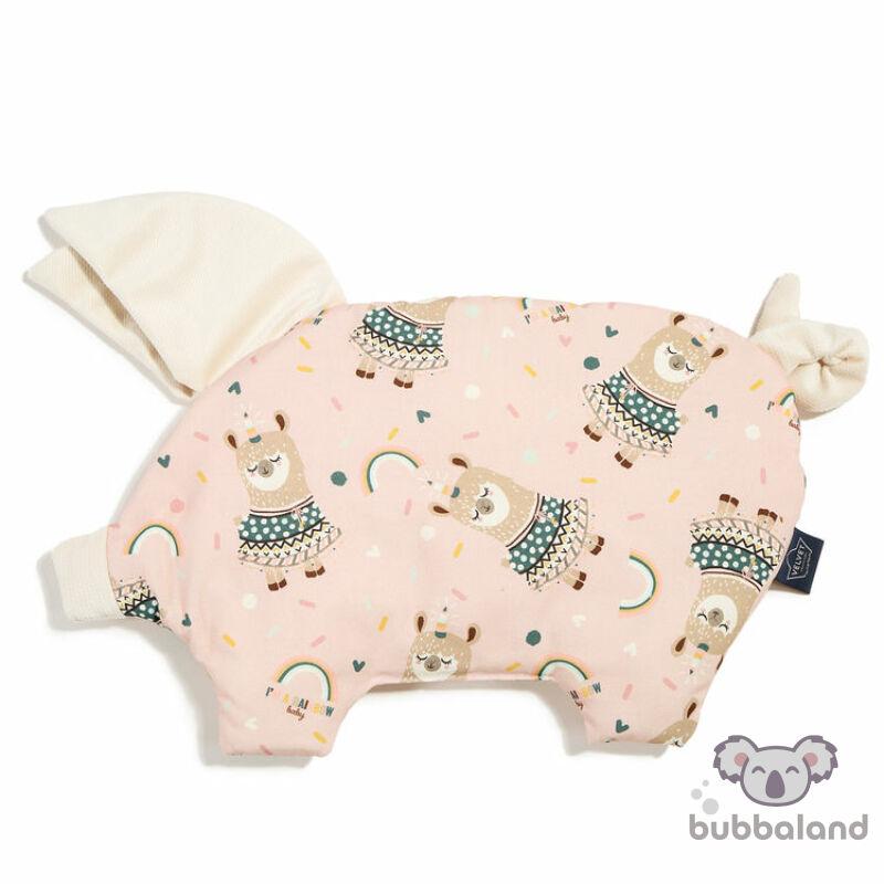 Baba kispárna röfi formában velvet anyagból pink és fehér színben szívárványos mintával Rainbow baby