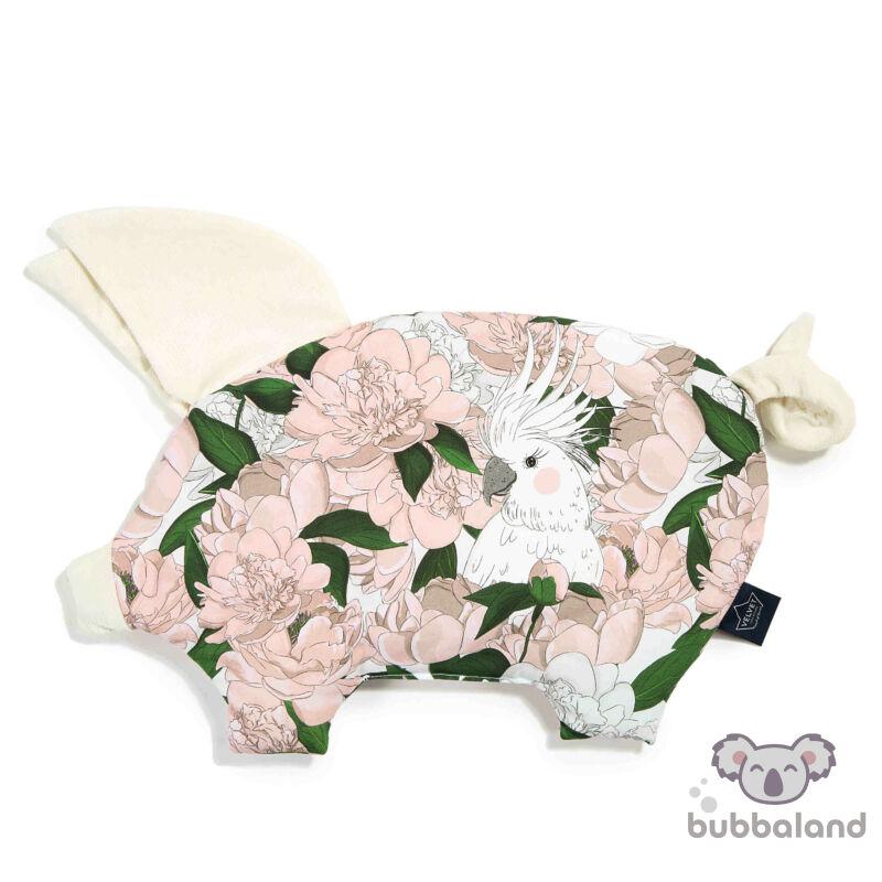 Baba kispárna röfi formában velvet anyagból pink fehér és zöld színekben bazsarózsa mintával Lady Peony