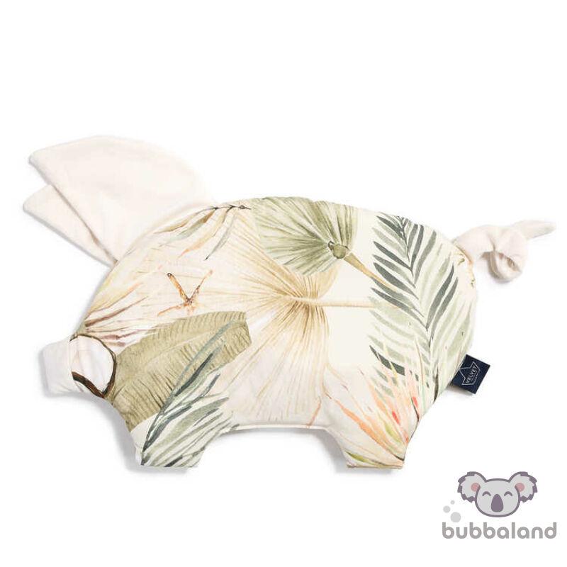 lapos baba párna röfi alakú ekrü és khaki színben pálma leveles, majom és kókuszdió mintával Boho Coco