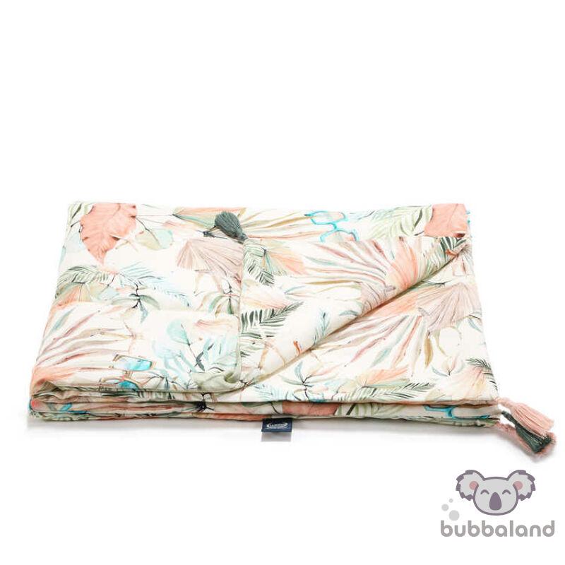 tavaszi-nyári bambusz baba takaró töltettel rózsaszín trópusi pálma mintával Boho Girl