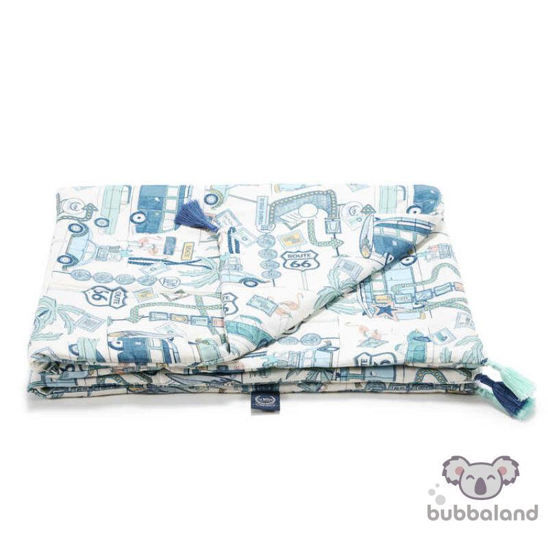 tavaszi-nyári bambusz baba takaró töltettel kék autós mintával Amerika Route 66 Colour