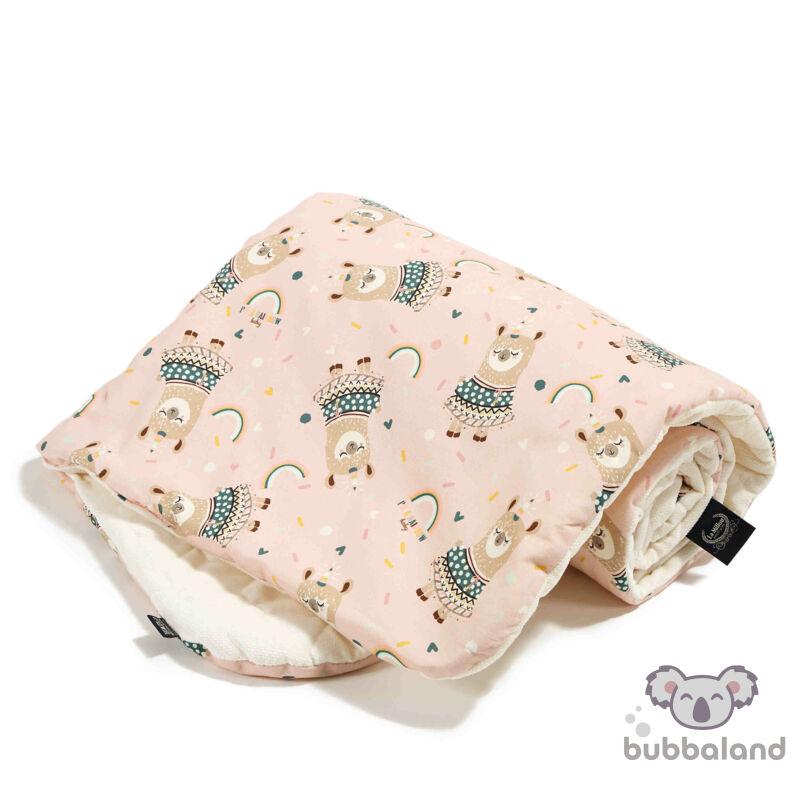 baba takaró velvet és pamut anyagból szívárványos mintával rózsaszín