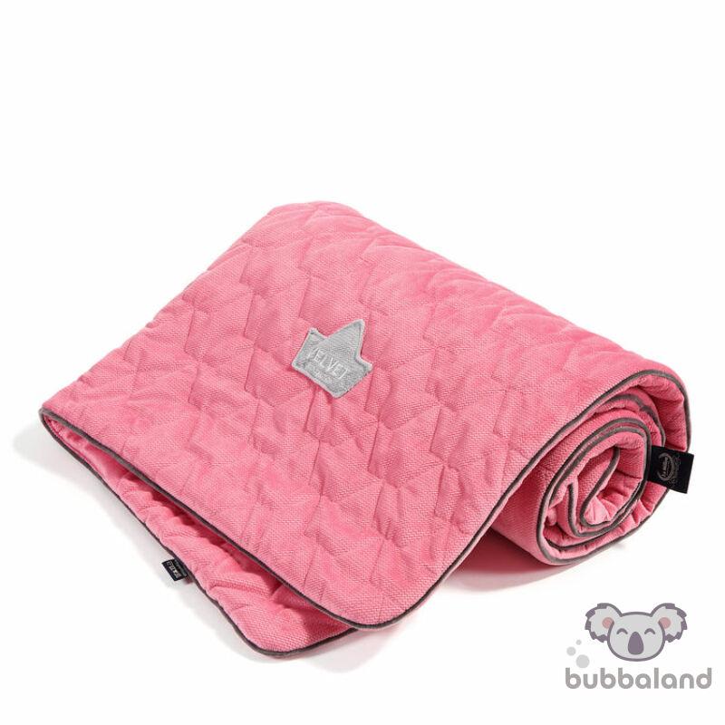 baba takaró velvet anyagból pink színben