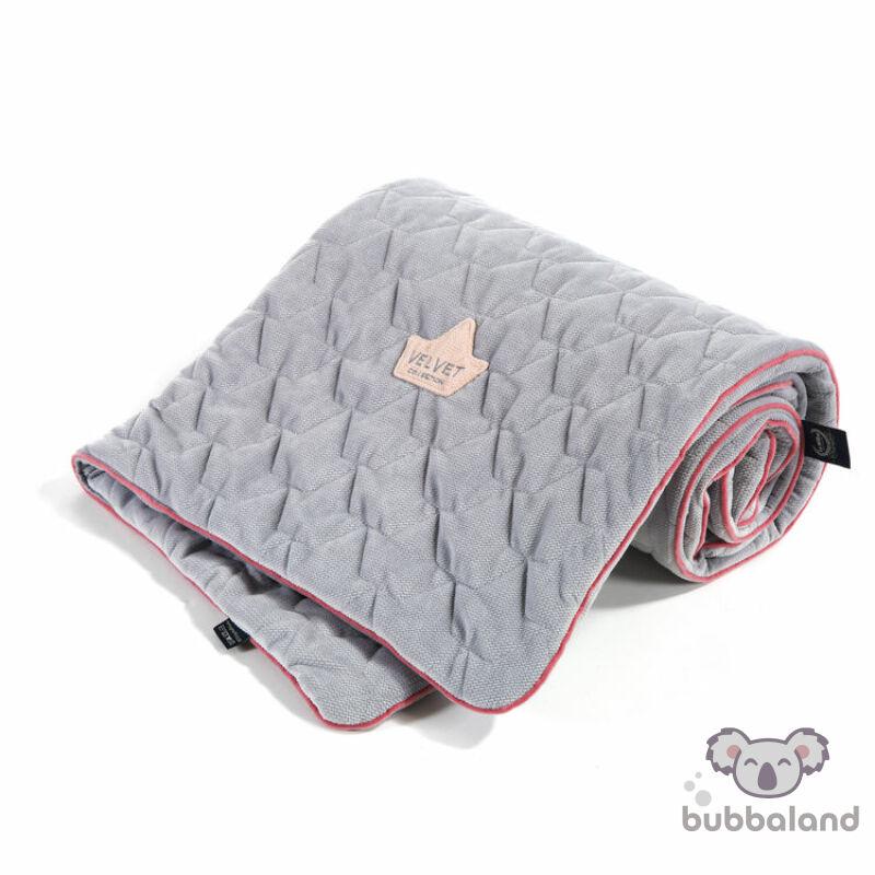 baba takaró velvet prémium anyagból szürke és rózsaszín színben