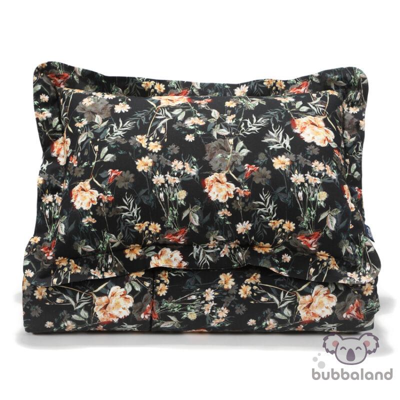 tinédzser és felnőtt ágynemű szett töltettel takaró és kispárnával sötét virágos mintával