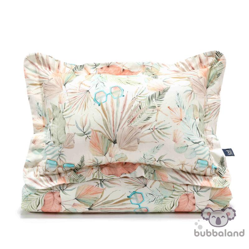 felnőtt méretű ágynemű szett töltettel menta és rózsaszín színben trópusi pálmalevél és retró napszemüveg mintával Boho Girl
