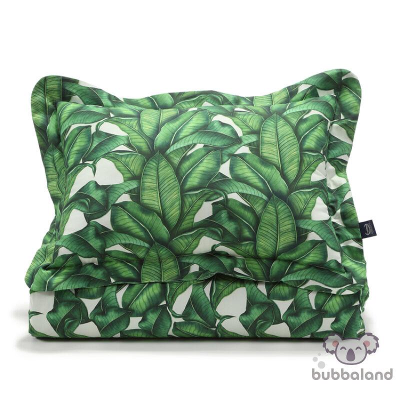 felnőtt méretű ágynemű szett töltettel zöld banán leveles mintával banana leaves