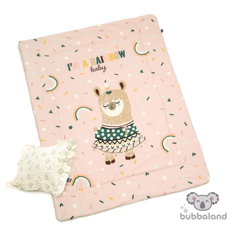 tinédzser felnőtt ágynemű szett töltettel és kispárnával rózsaszín színben szívárványos mintával