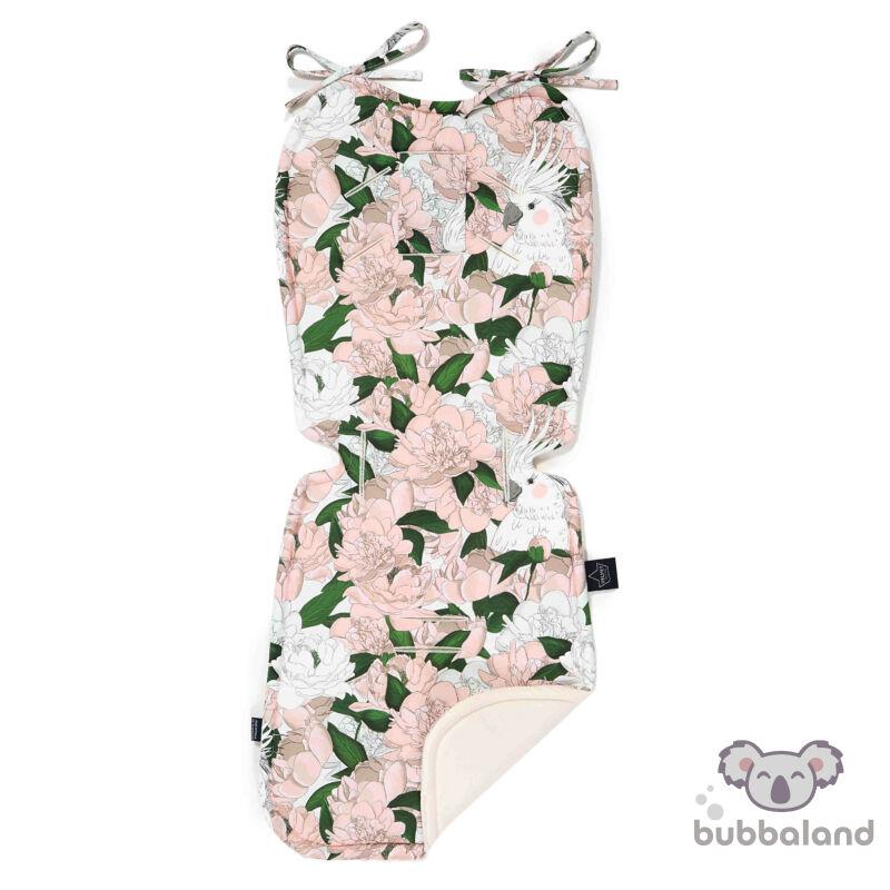 babakocsi betét velvet anyagból pink fehér és zöld színekben bazsarózsa mintával Lady Peony
