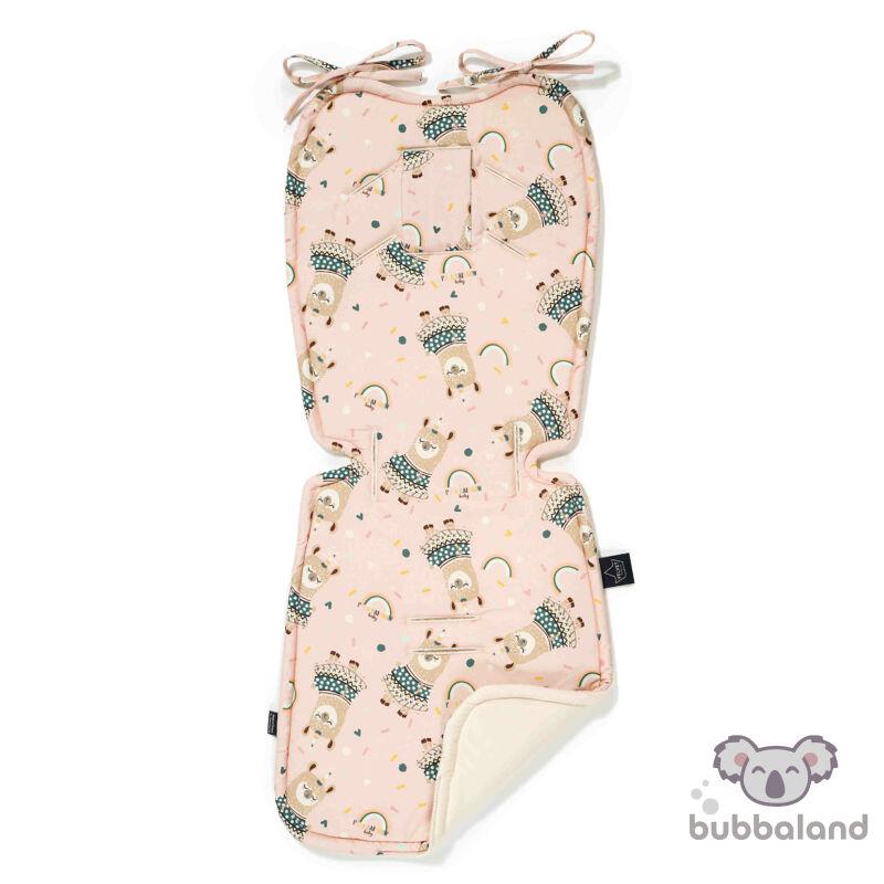 babakocsi betét velvet anyagból pink és fehér színben szívárványos mintával Rainbow baby