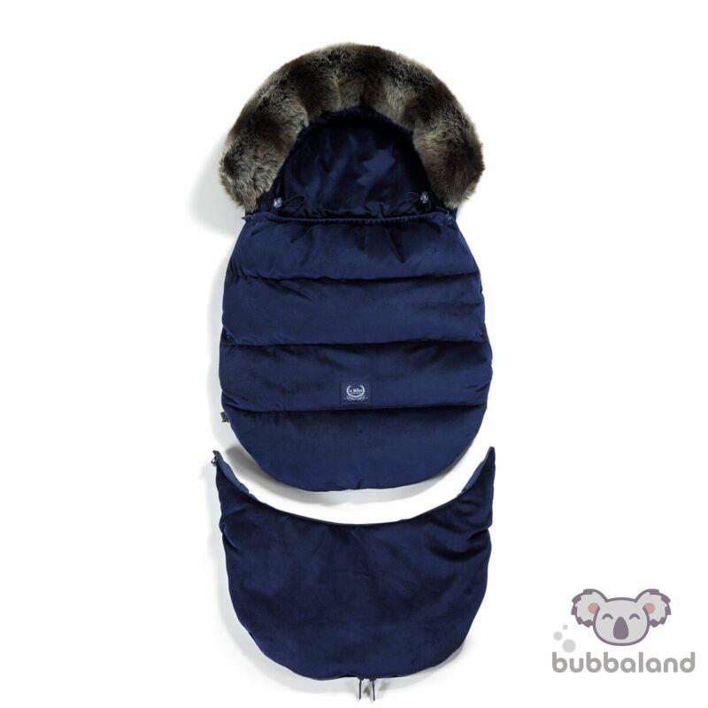bundazsák kombó méretben 0-3 éves kor között használható prémium velvet anyagból tengerészkék színben