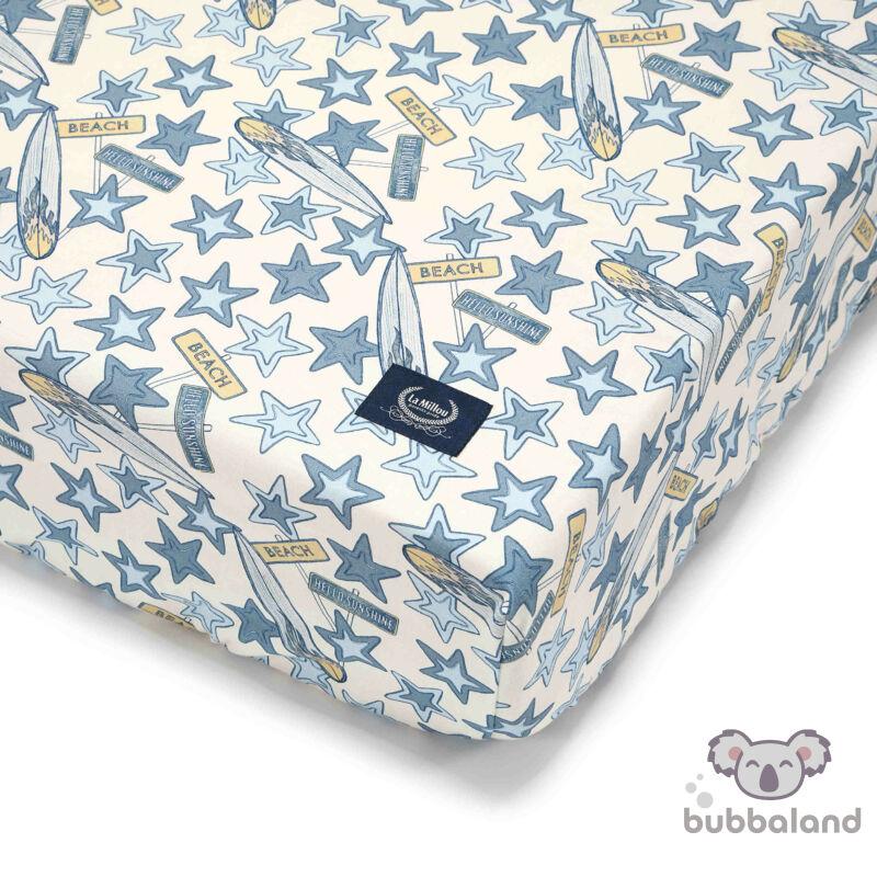 kiságyba való gumis lepedő babáknak 60x120 cm fehér-kék csillagok Route 66 Colour