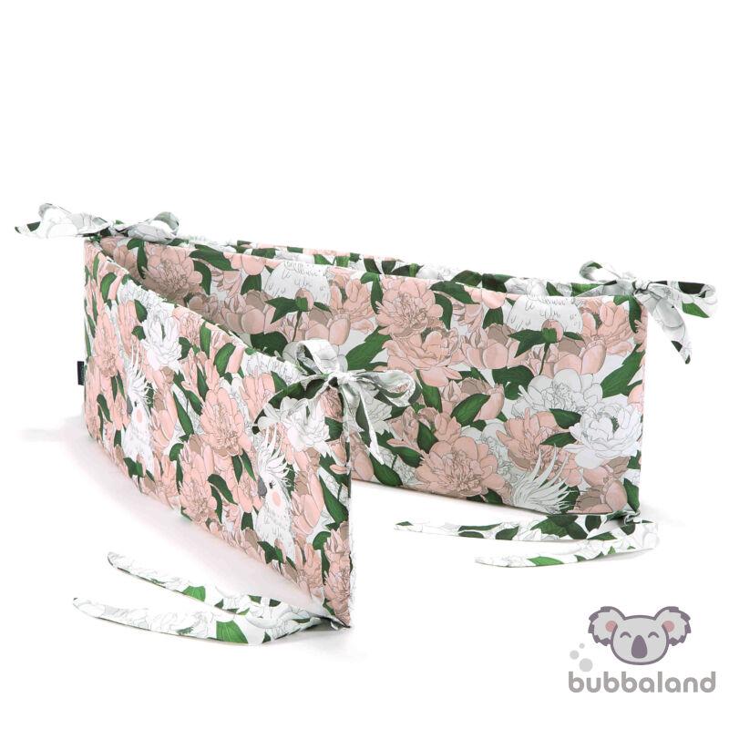 baba kiságy rácsvédő rózsaszín bazsarózsa mintával