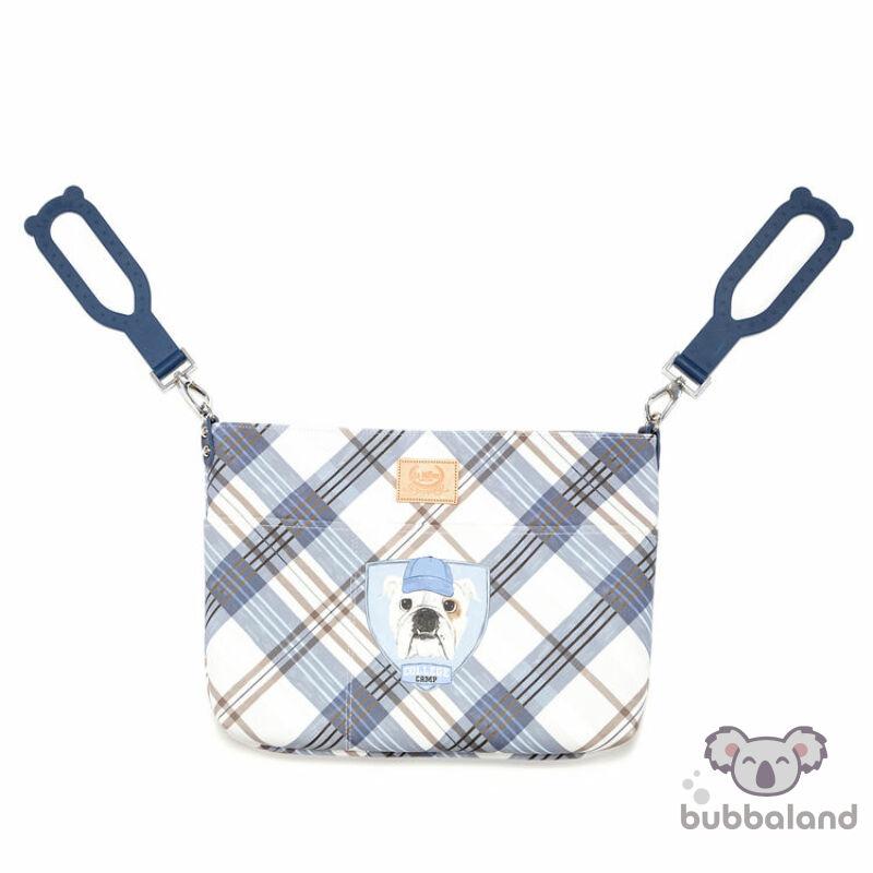 kis méretű kismama táska kék kockás bulldog kutya mintával