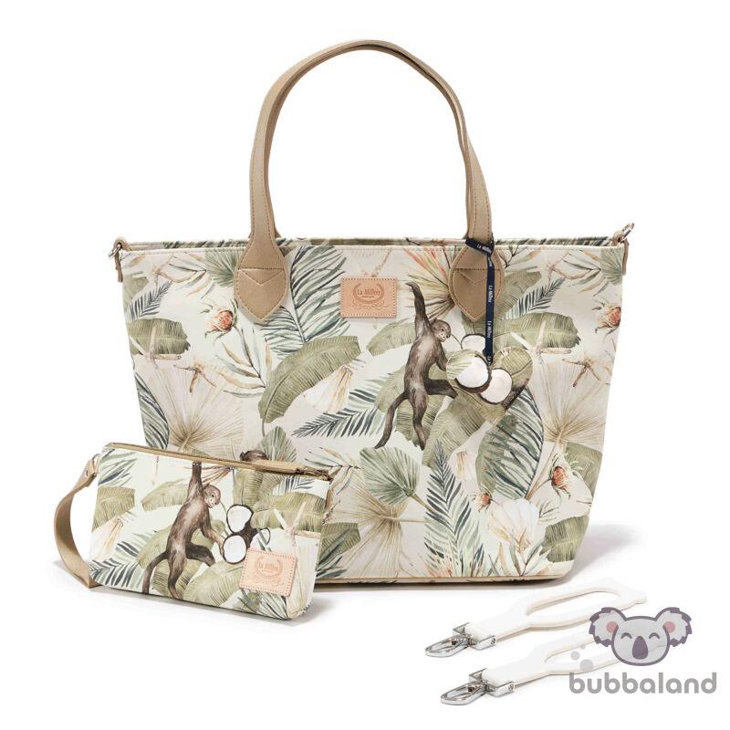 közepes méretű pelenkázó táska trópusi pálma levél, kókuszdió és majom mintás khaki zöld és bézs színben Boho Coco
