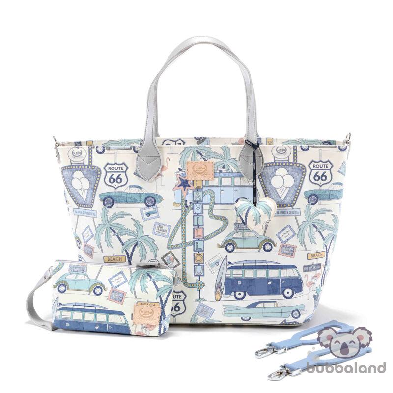 nagy méretű pelenkázó táska világoskék és fehér színben autós nyaralás mintával amerikai Route 66 Colour