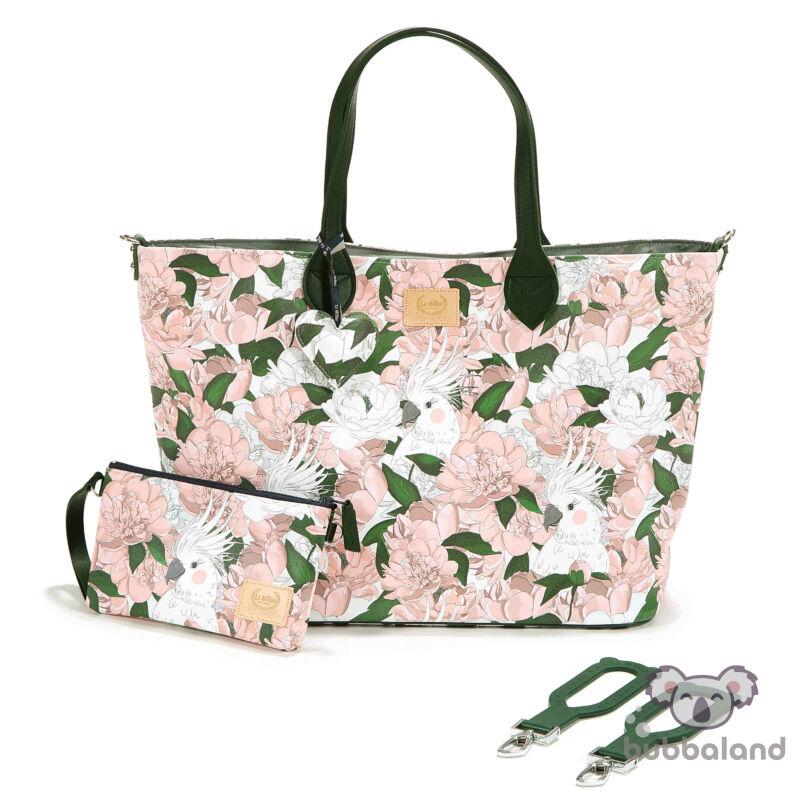 nagy méretű pelenkázó táska rózsaszín bazsarózsa Lady Peony