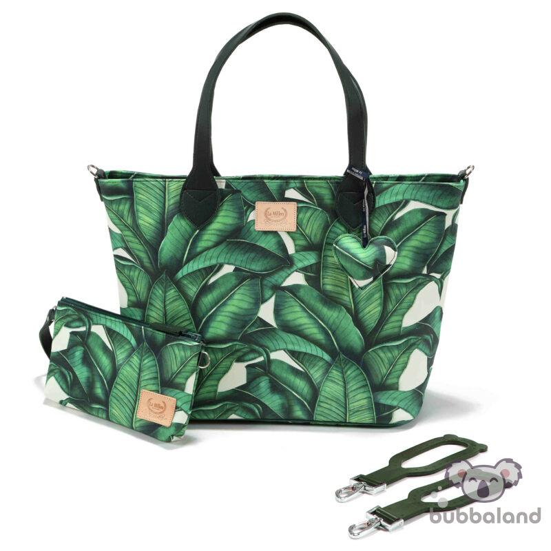közepes méretű pelenkázó táska zöld banán levelek Banana Leaves