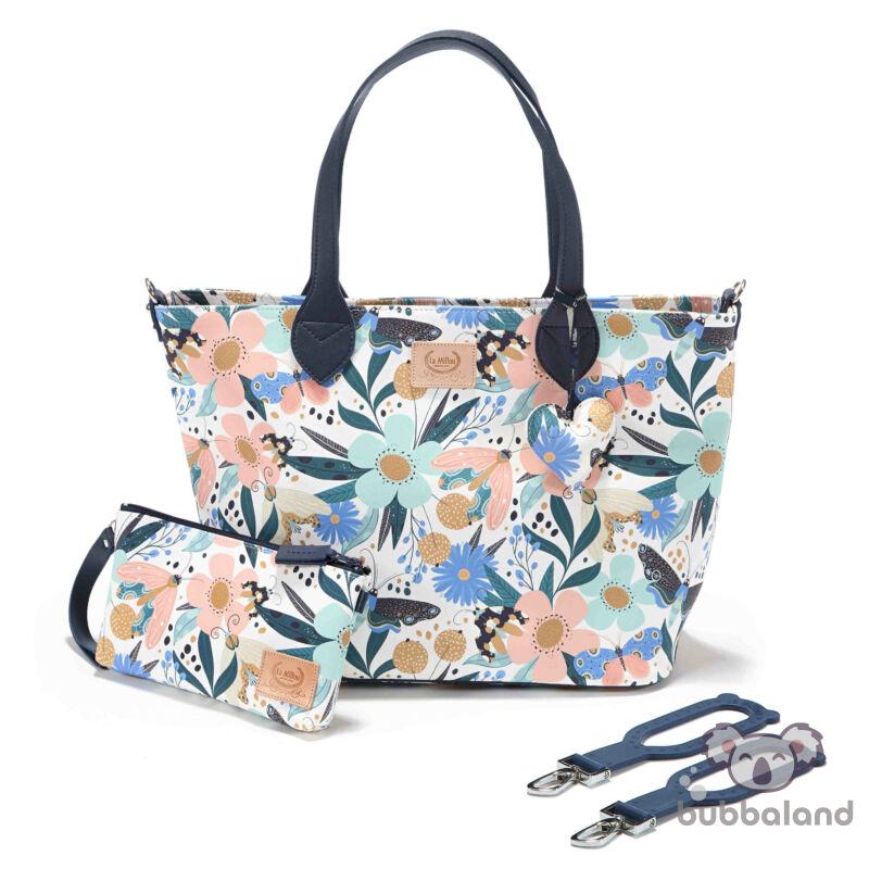 közepes méretű pelenkázó táska tavaszi virágok és pillangók Fairytale Land