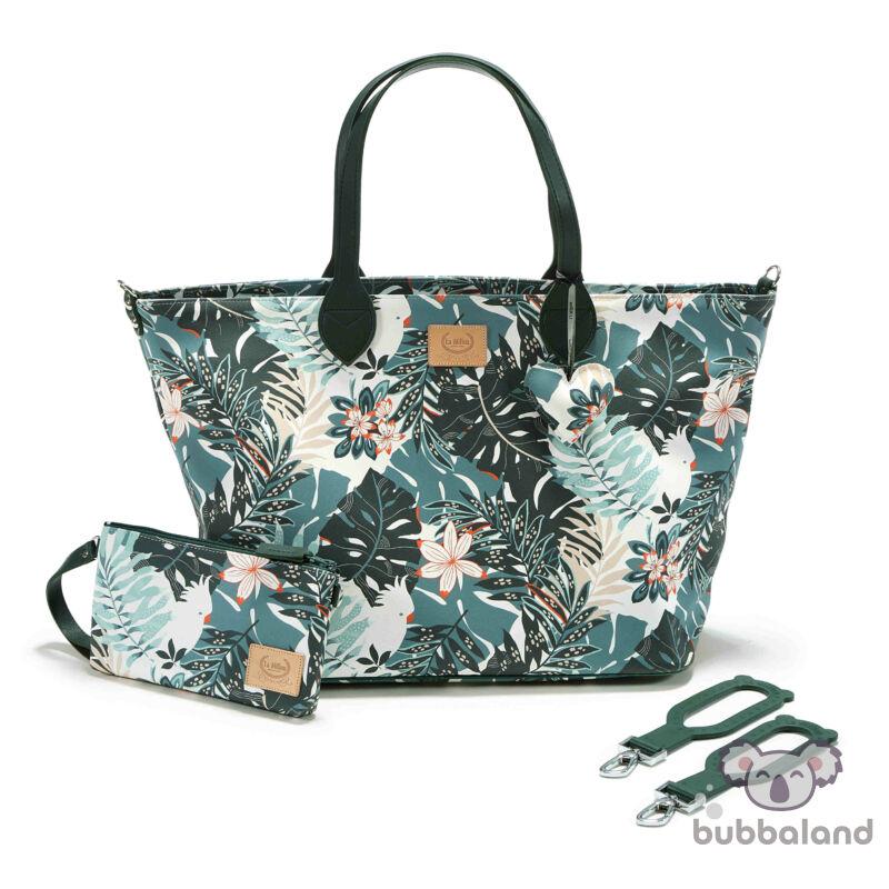 közepes méretű pelenkázó táska khaki trópusi papagály Papagayo